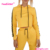 New Style Yellow Soft Sweater Fabric Women Long Sleeves Fashion Tracksuit