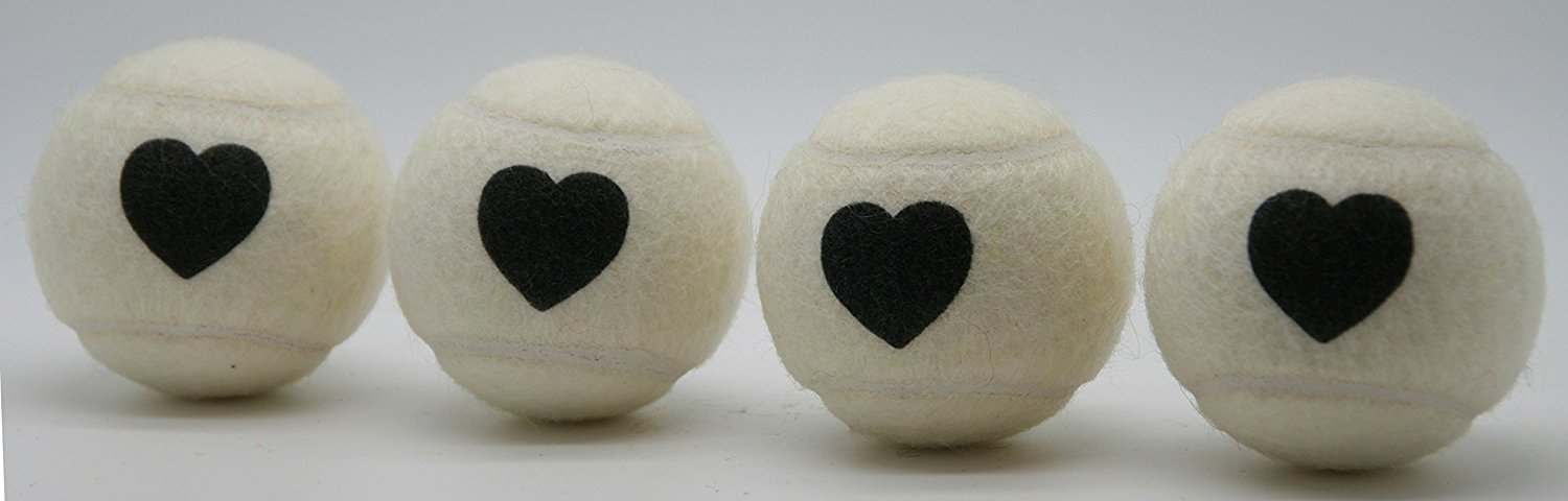 Price's Heart Motif Type 2 Tennis Balls Made in the UK (1 x 4 Ball Tube) White, pressureless, durable and long lasting.