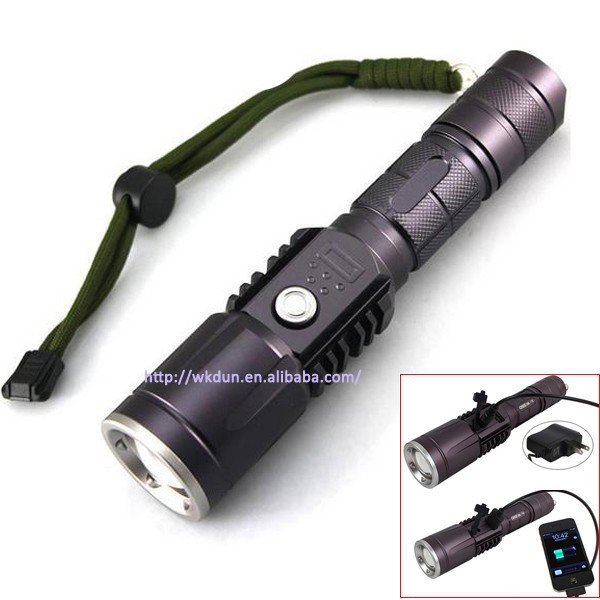 Zoomable Sipik K118 C-ree XM-L T6 3-Mode 18650 or 3x AAA Rechargeable LED Flash light