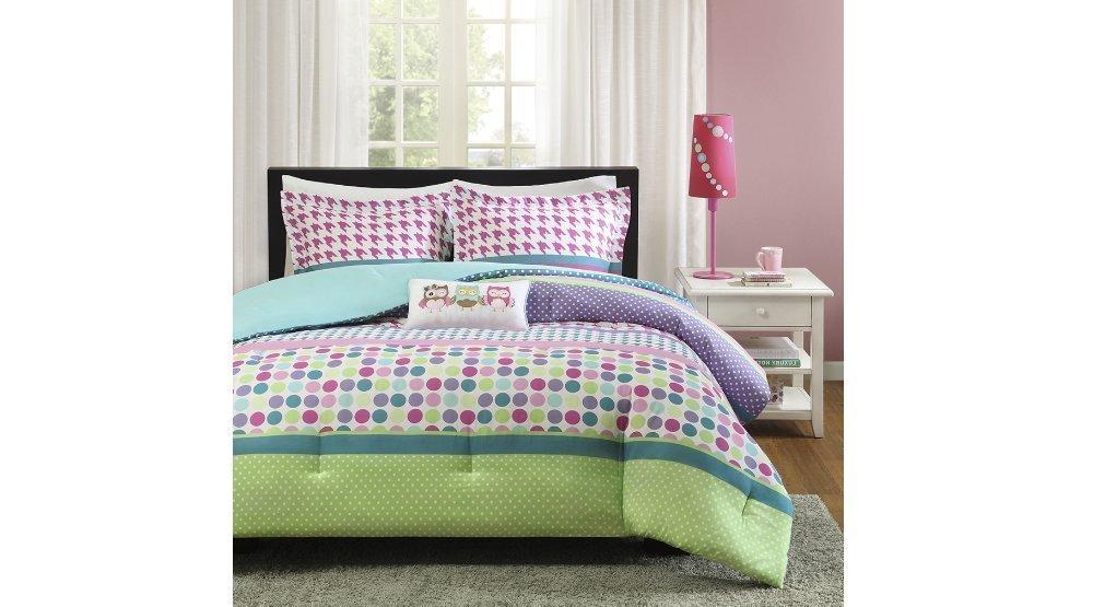 4pc Girls Rainbow Polka Dot Theme Comforter Full Queen Set, Circle Small Dots Themed, Horizontal Stripe Pattern, Pink Purple Blue Teal Green Aqua, Polkadot Houndstooth Plaid Bedding