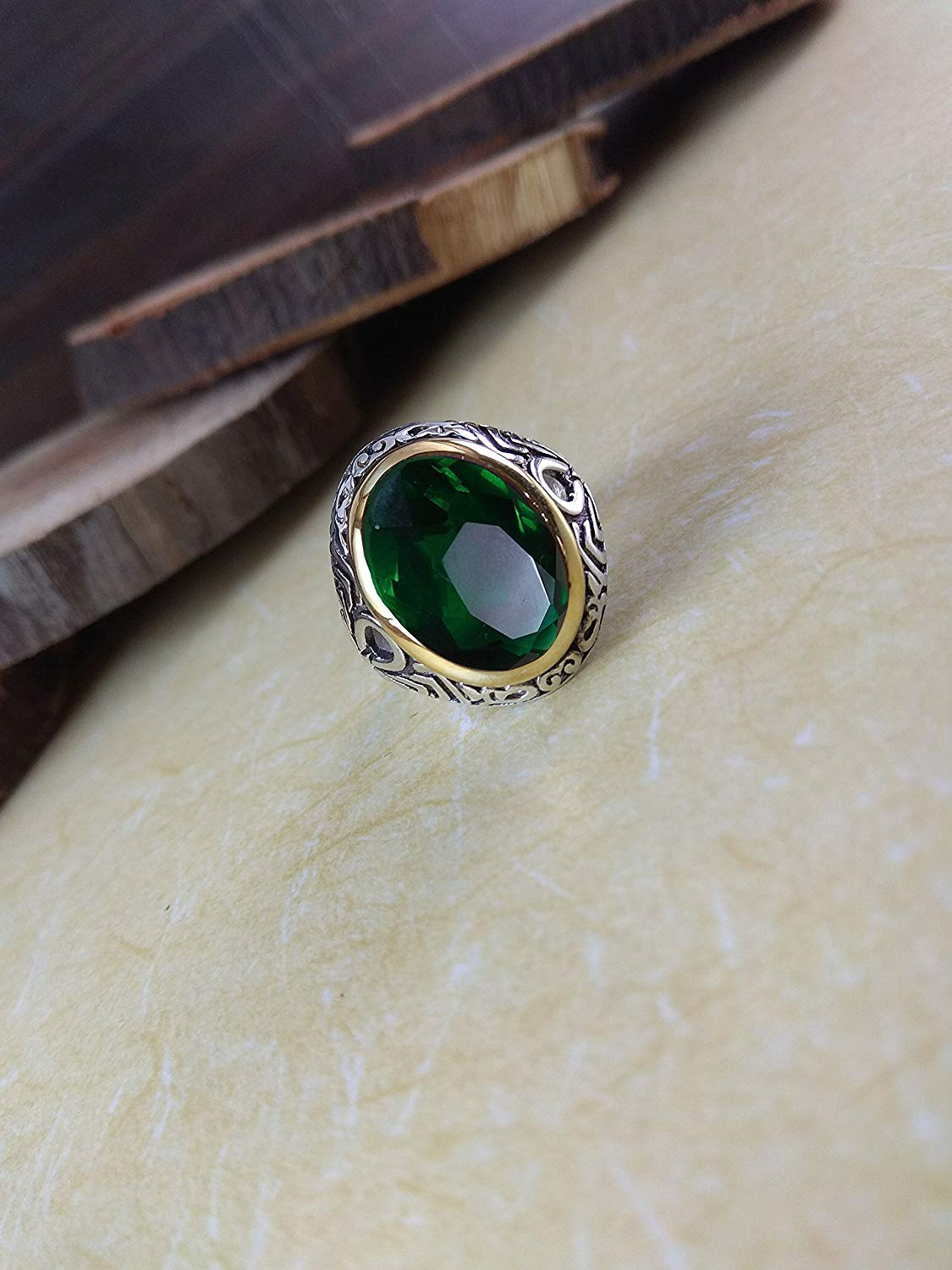 Fine Cut Emerald Ring, 925 Sterling Silver Jewelry, Faceted Oval Emerald Gemstone, Balinese Ring, Mental Healing Gemstone, Handmade Jewelry, August Birthstone Ring, Birthday Gift for Husband, Father