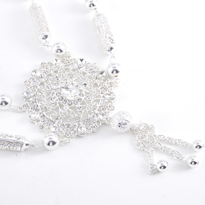 Silver jewelry necklace water drop shape national brand design for the bride chest decoration shoulder accessories