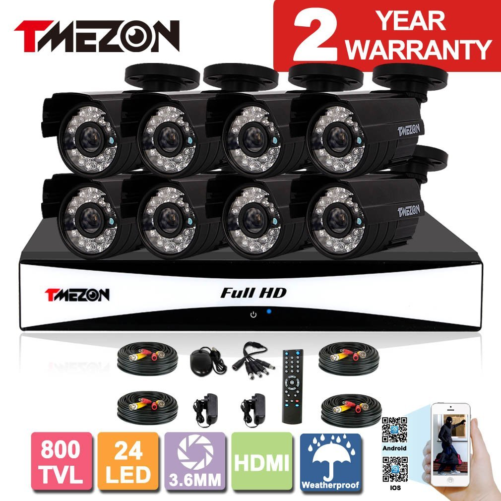 TMEZON 8CH 960H HDMI DVR Kits P2P Recorder 800TVL Cameras Waterproof CCTV Surveillance Security System 3G Remote Mobile Access iPhone Android View