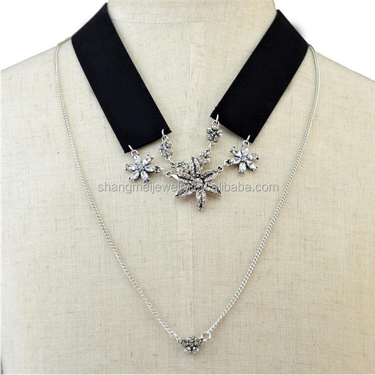 Fashion jewelry double layered black suede starfish charm full neck covering necklace design