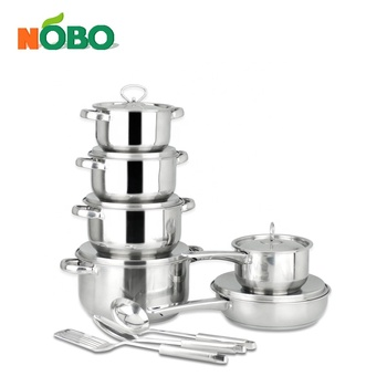 15-Piece Durable Household Cooking Pot Set Stainless Steel Stock Pot Cookware Set with Double Bottom