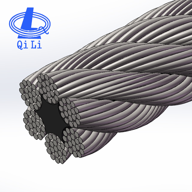 Bridge wire rope 10mm steel cable 6x19 Fibre core galvanized steel cable