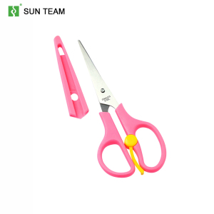 Easy-open spring handle student scissor with a safe cover