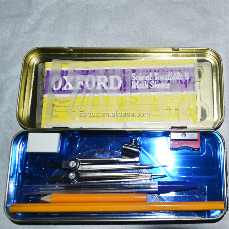 13PCS Oxford School Math Set compass Tin box