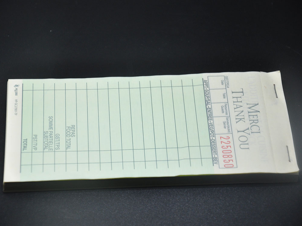 Duplicate carbonless Guest Check order pad for restaurant supplies