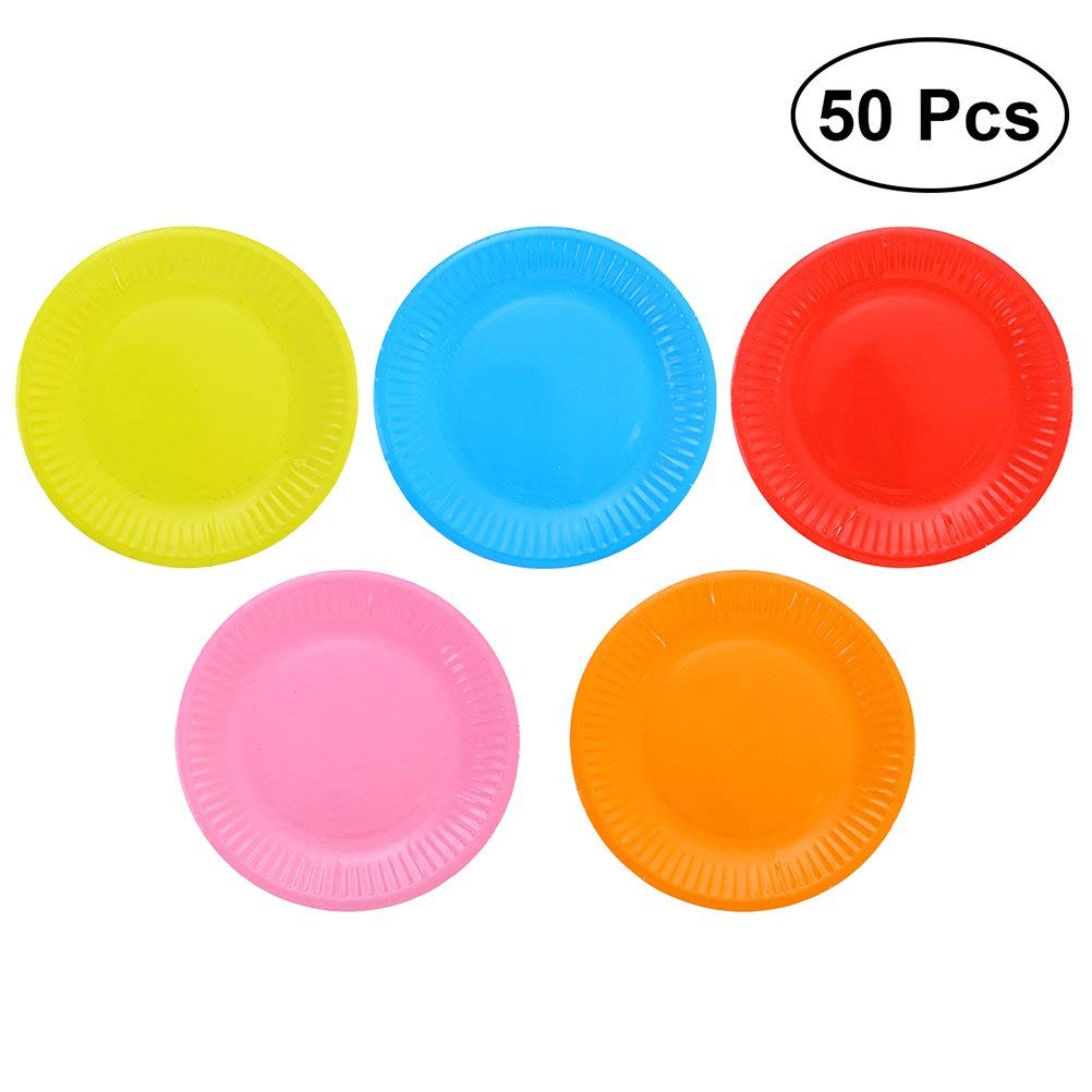 Get Quotations Toymytoy 50pcs 7 Inch Disposable Paper Plates Party Supplies Dot Food Plate Birthday