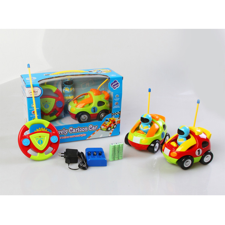 2 Channel R / C Car Kids Remote Control Assemly Cartoon Car with Light and Music