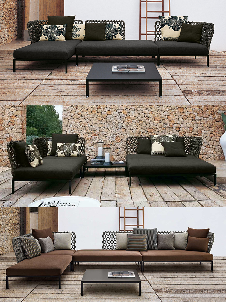 Italian style simple comfortable contemporary l shaped rope woven sectional terrace sofa set