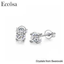 Eccosa White Gold Plated Stud Earring with Crystals from Swarovski Wedding Earrings for Women