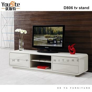 White High Gloss Long Design Tv Cabinet L Shaped D806