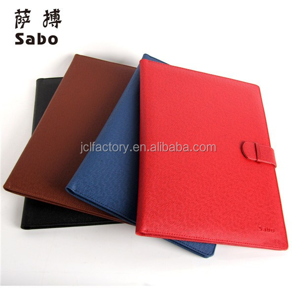 business style leather resume porfolio document folder organizer with paper pads