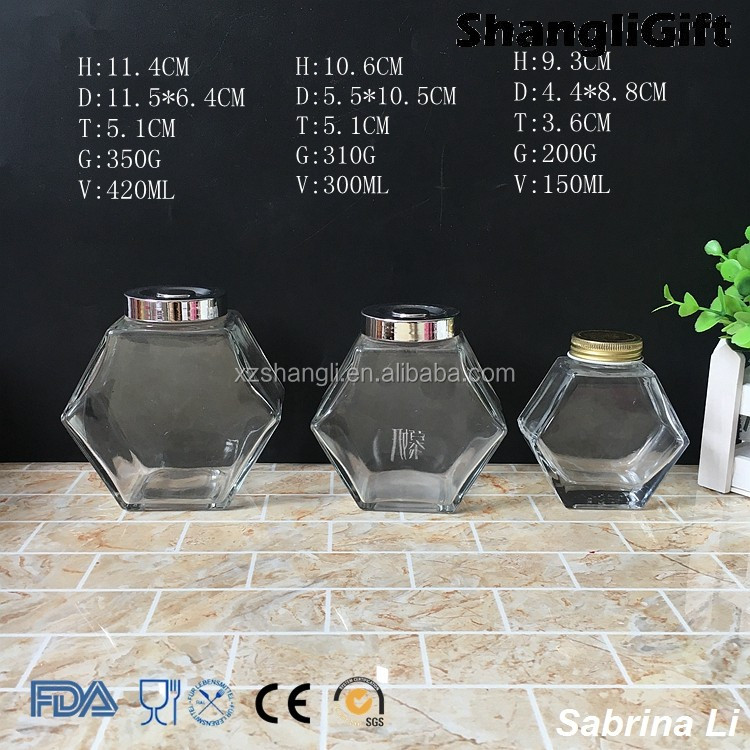 unique shaped 14 oz 10 oz 5oz honey glass jar with silver lid