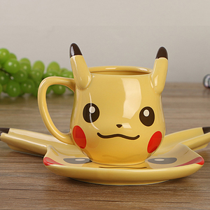 Creative fashion anime dessert plate pikachu coffee cup ceramic milk cup for friend birthday gifts