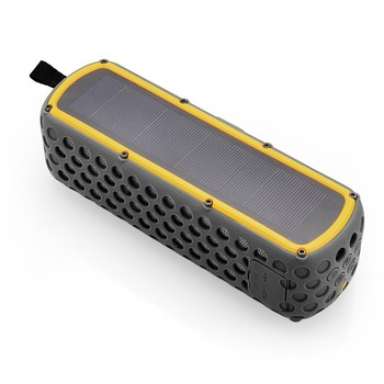 New design outdoor dual speakers music bluetooth waterproof speaker with solar panel and 2500mah power bank