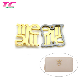 Luxury Shiny Gold Metal Logo Brand Custom Letters Metal Logo For Handbags