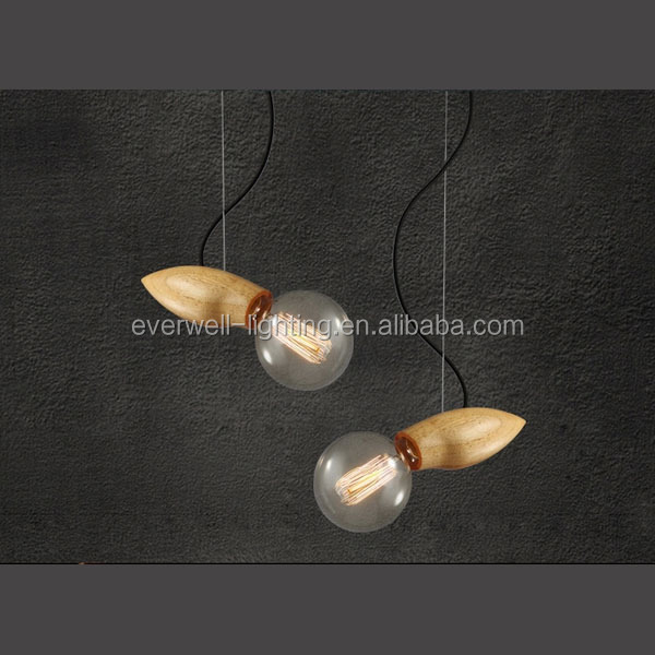 220V~240V incandescent bulb hanging wooden and metal modern hanging chandelier western style chandelier
