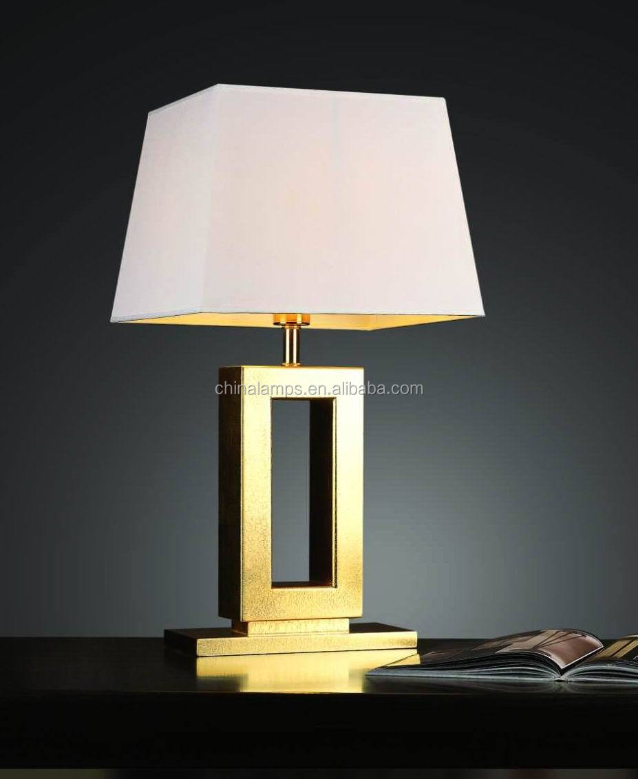 Wrought Iron Home Decoration Metal Table Lamp In Gold With White ...