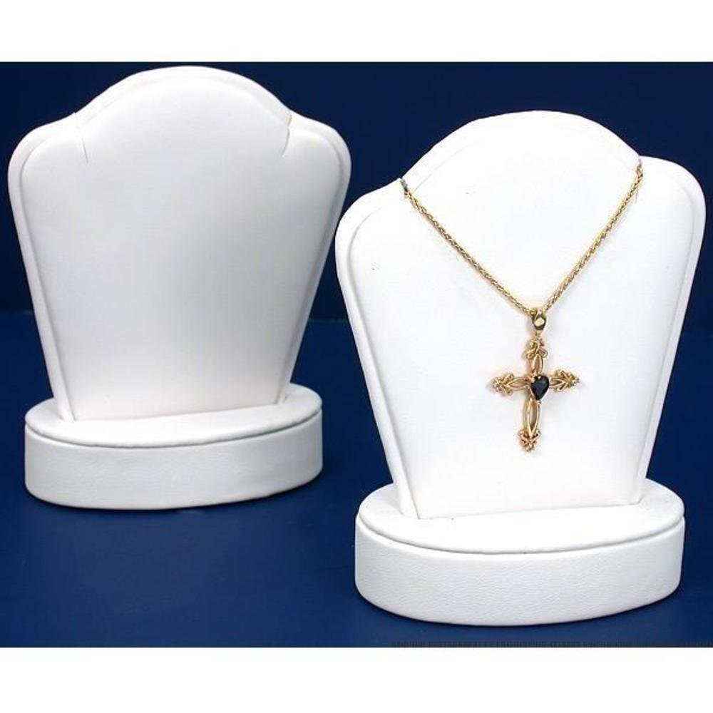 2 White Leather Pendant Necklace Displays Jewelry Case
