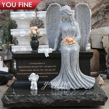 Graveyard Granite Headstone Marble Sitting Angel Wings Monument Tombstone