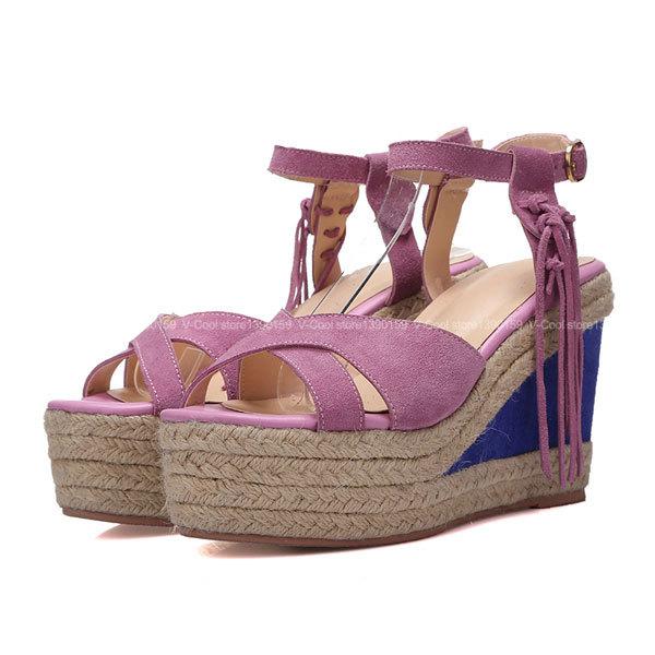 Buy Platform Shoes Girls 2015 Summer High Wedge Fringe Heel Girl