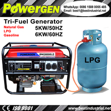 Best Seller!!! POWERGEN Home use Air cooled Portable Tri-Fuel Gasoline/LPG/Natural Gas Generator 5KW