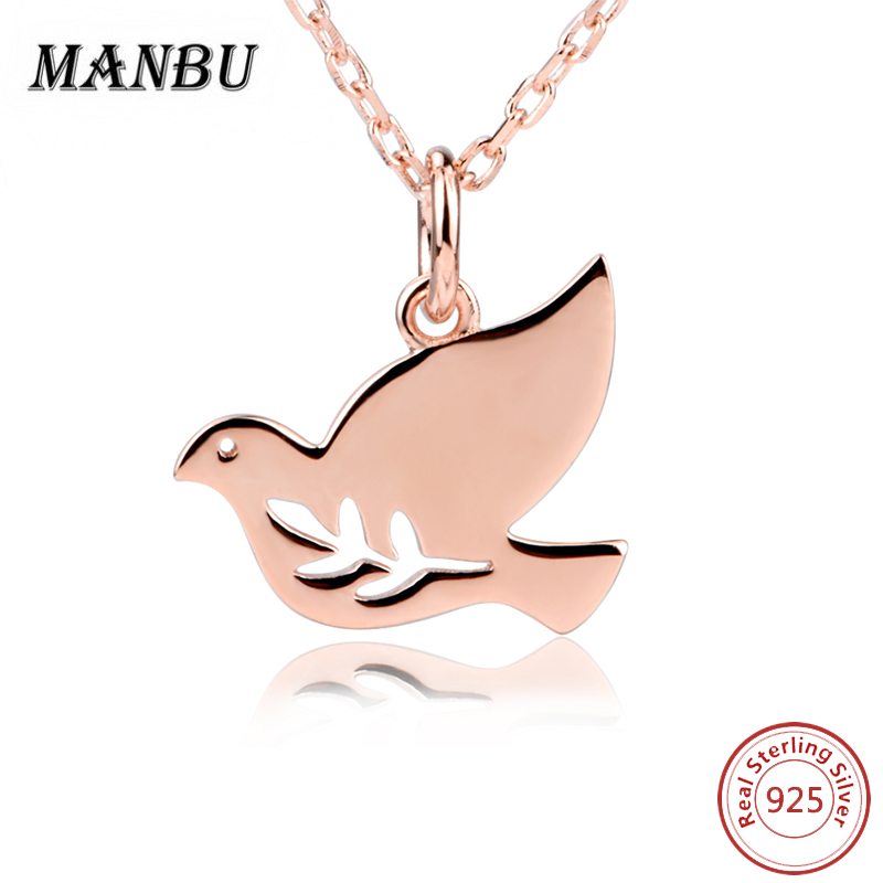 925 sterling <strong>silver</strong> rose gold dove shaped pendant necklace jewellery for women JN7675-P