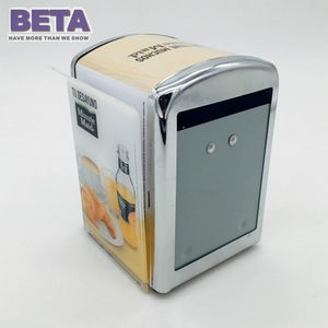 BETA Best Selling Tinplate Napkin Holder Tissue Dispenser Double Door With Menu Holder Card Clip Customized Logo Printing