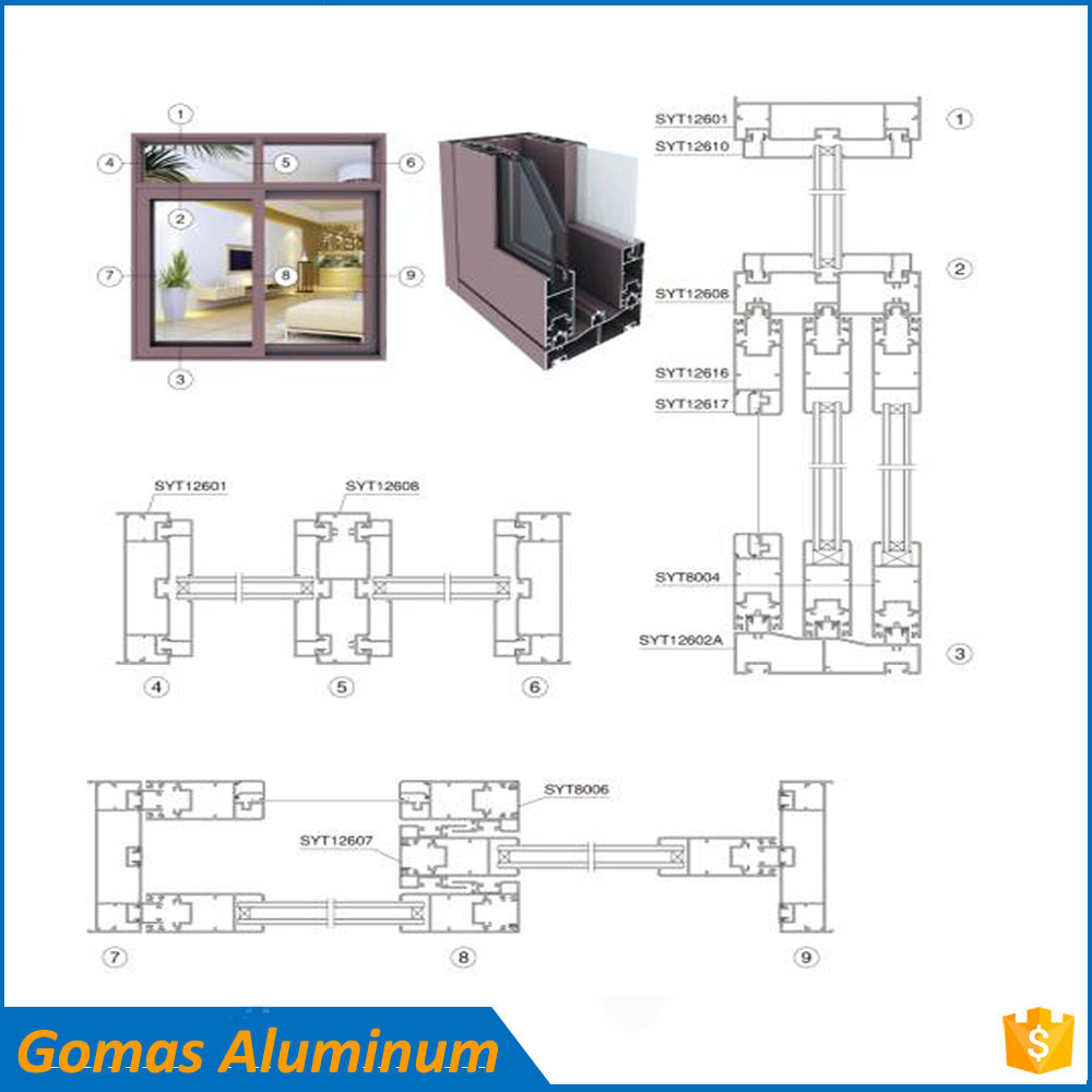 Home/commercial sliding aluminum window profile extrusion frame parts