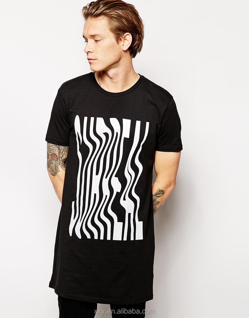 Black Longline T Shirt Men Silk Screen Printing Oversized T Shirt ...