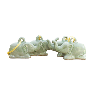 Handmade Ceramic Christmas Ornaments, 'Lucky Green Holiday Elephants