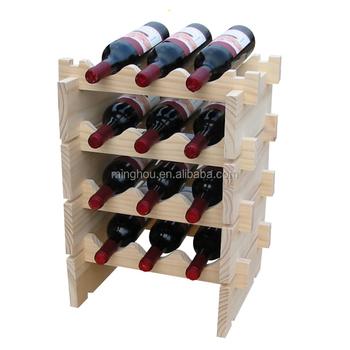 Wholesalers 12 Bottle Wine Storage Rack With Dowel Pins 3 Bottles