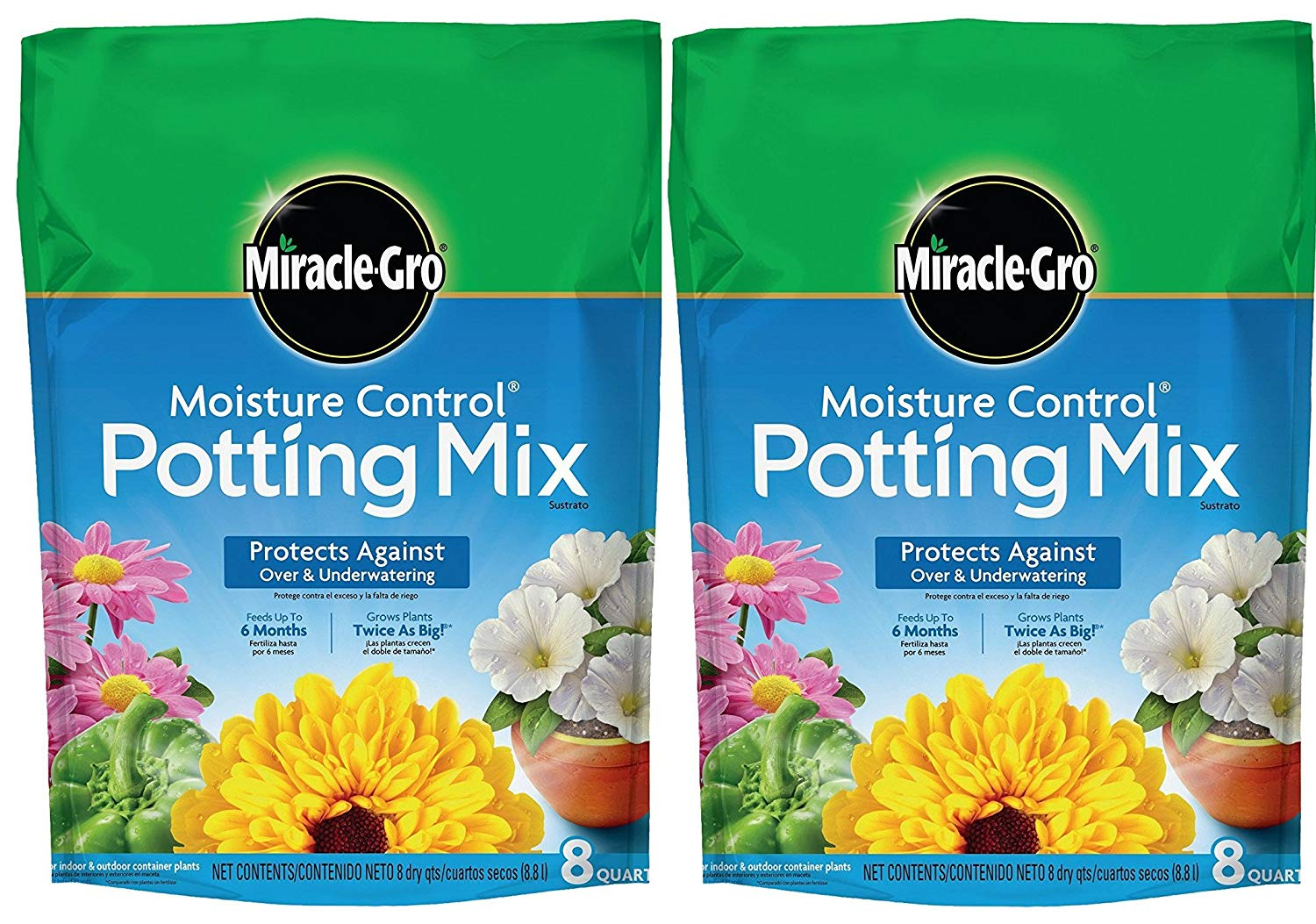 Miracle-Gro Moisture Control Potting Mix, 8-Quart (currently ships to select Northeastern & Midwestern states) (2 Pack (8-qt.))