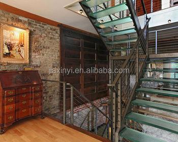 Moderne glazen loopvlakken trap koolstofstaal reling indoor