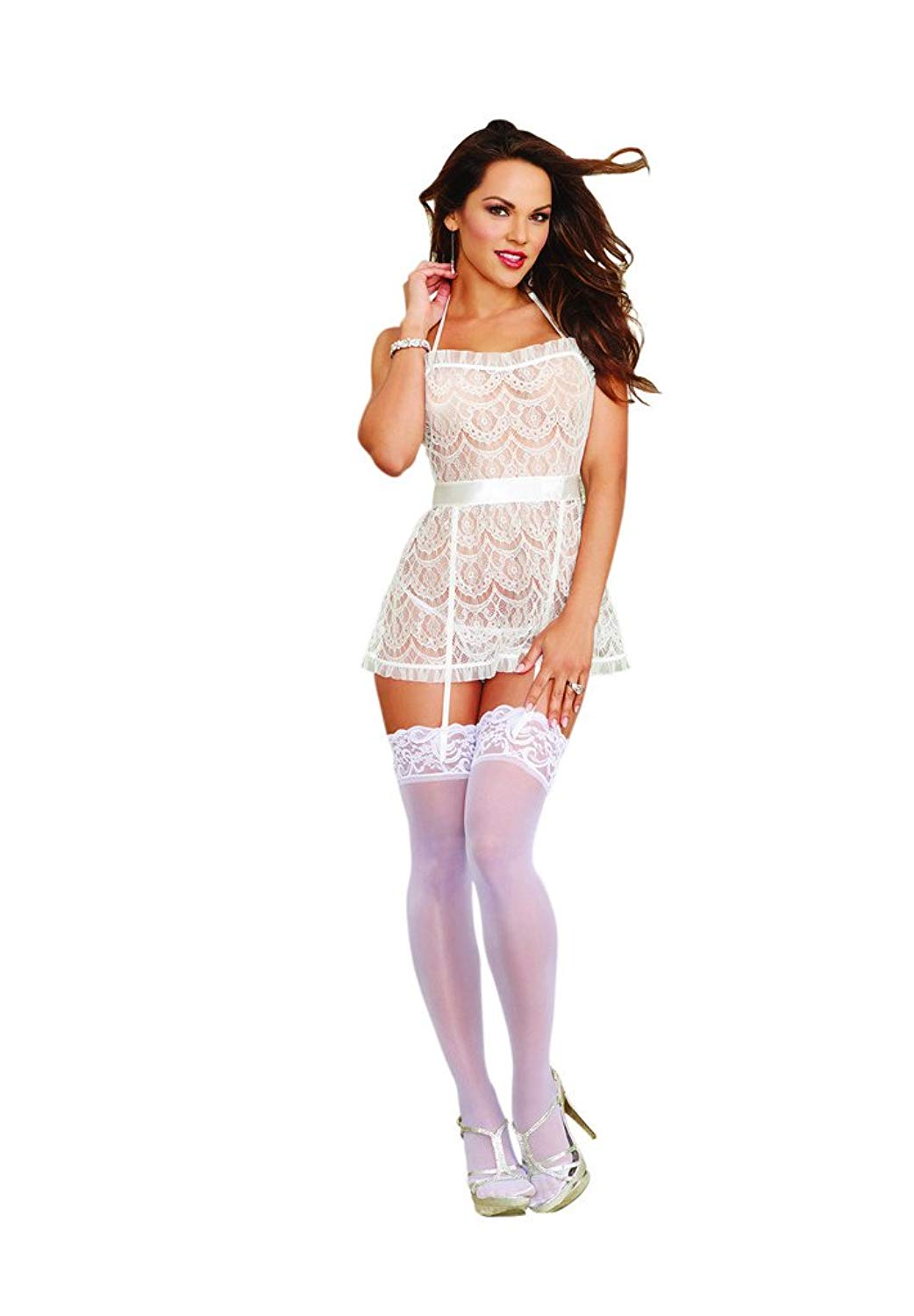 d5ebaadb158bb Slauson Supermall Women s Women s Flirty Sexy Delicate Lace Apron Babydoll  and Heart Cut-Out Panty by Dreamgirl