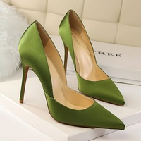 or60518a European and American fashion style simple women thin high heel shoes satin pointed toe sexy slim pumps