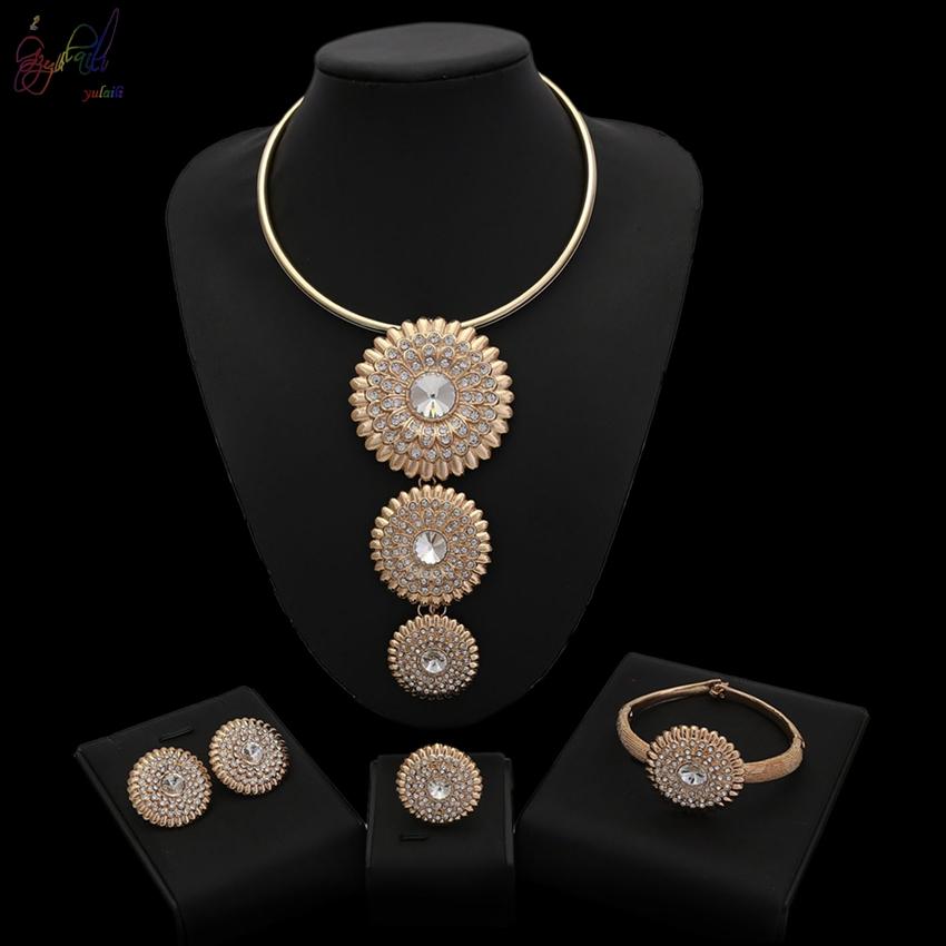 8c52c7905f9e Yulaili 2018 diseño caliente venta Africana 18 K chapado en oro conjunto de  joyas para la