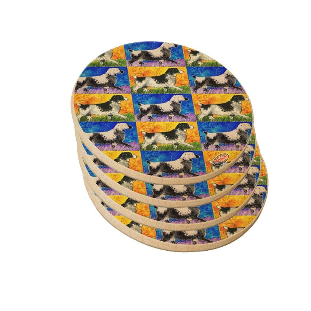 Decorative Round Sandstone Drink Coaster - English Springer Spaniel Dog Pattern Art by Denise Every