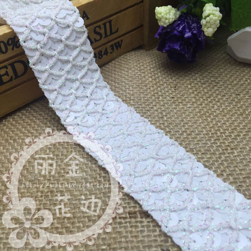 3.3cm Width 5rows Elastic Sequin Trimming Stretch Sequin Banding Tape