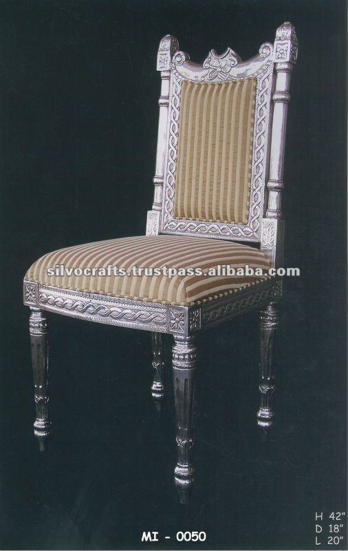 Royal Carved Silver Dining Table And Dining Chair Set (Silver Restaurant Furniture from India)