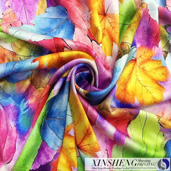 100% Polyster matte stretch twisting printed satin fabric for womens' clothing