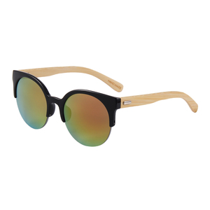 2018 semi rimless bamboo temple glasses mirror sunglasses Oculos Lunette De Sol
