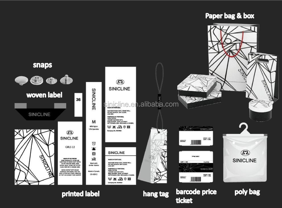 Sinicline siyah logo baskılı plastik bikini ambalaj poşetleri özel zip kilit çanta