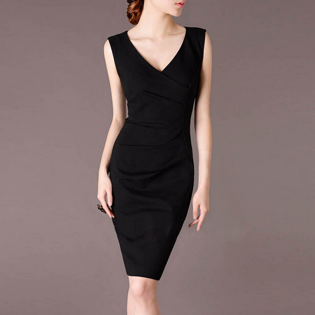 New Fashion 2016 Elegant V-neck Short Career Black Pencil Business Dresses Wholesale