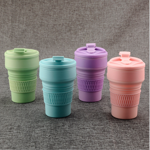 Custom Logo Silicone Collapsible Flexible Folding Foldable Pocket Cup for Coffee
