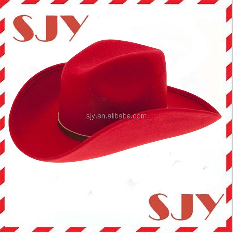 Cowboy Hats Red Wool Felt Cowgirl Hat - Buy Cowboy Hat d479175d188