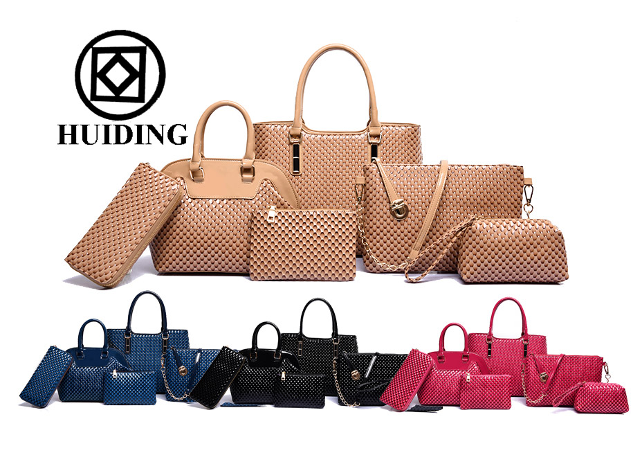 Hot sale 6pcs in 1 set PU leather handbag bag in bag for women china  wholesale 6c25abd8016d6